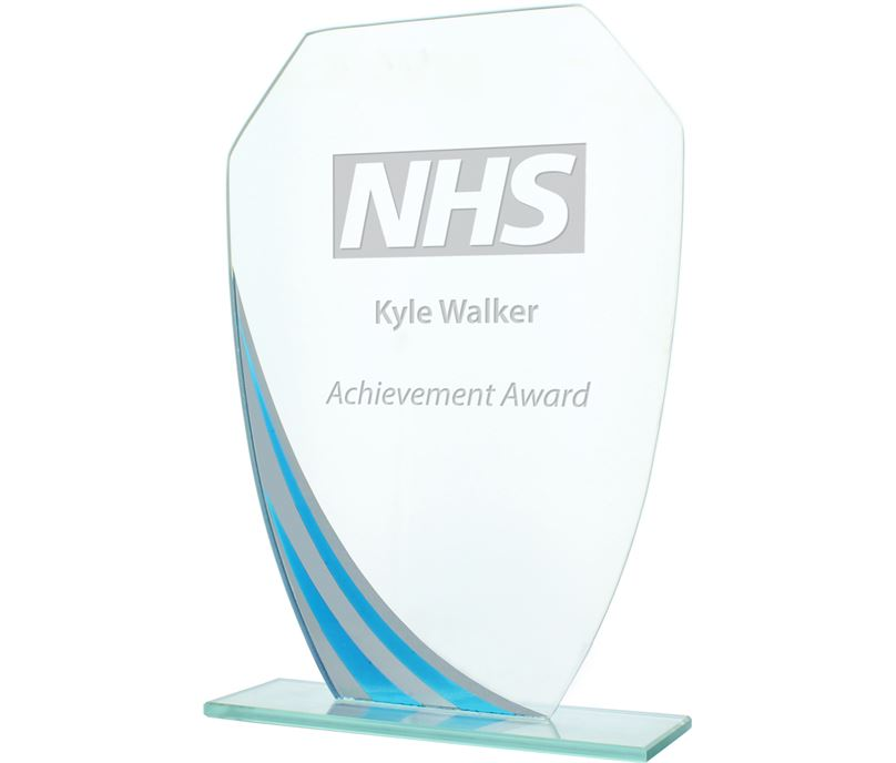 "Curved Glass Multi Award Clear and Blue 21.5cm (8.5"")"