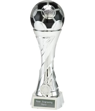 "Football Trophy Heavyweight Sculpture Silver 27cm (10.5"")"