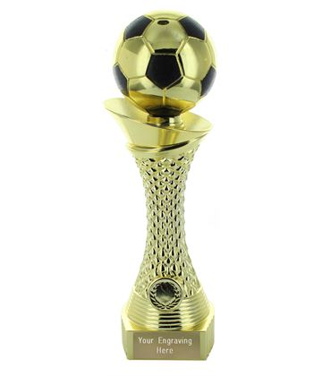 Football Trophy Heavyweight Tower Gold Shine 15.5cm