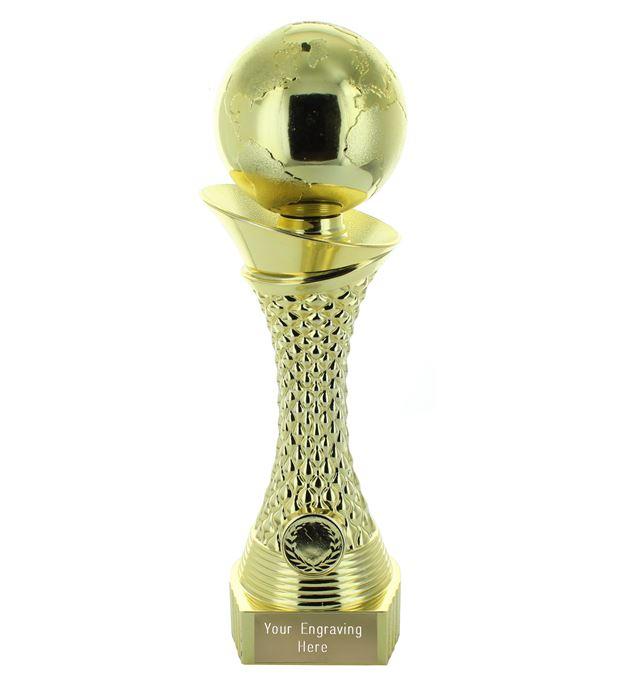 "Globe Multi Award Trophy Heavyweight Tower Gold Shine 28cm (11"")"