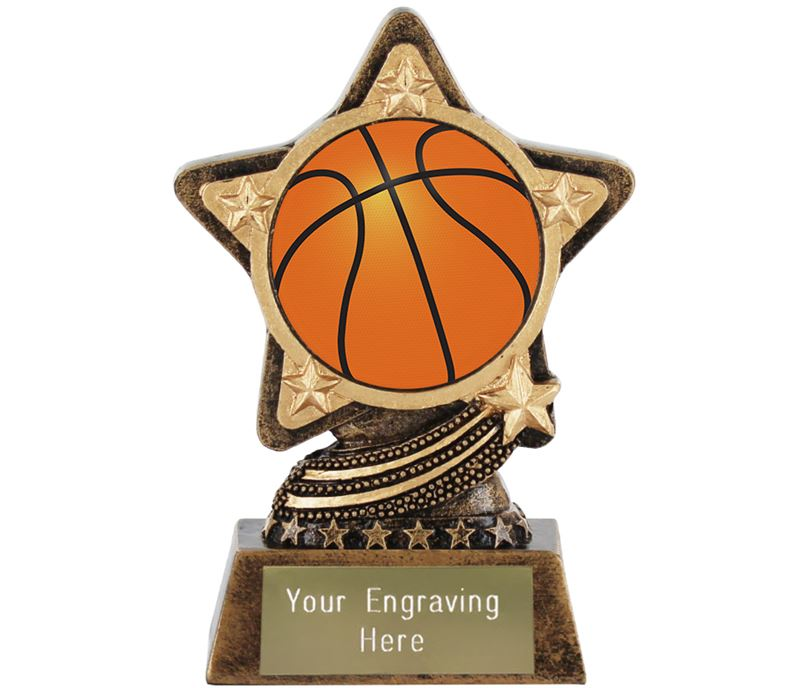 "Centre Basketball Trophy by Infinity Stars 10cm (4"")"