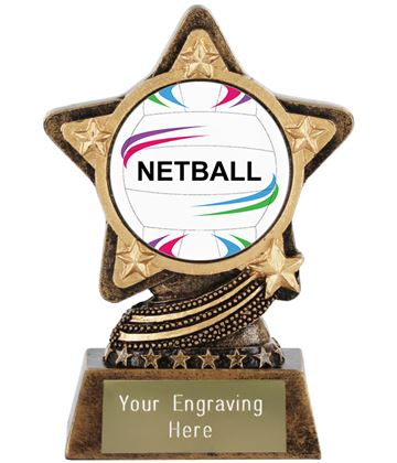 "Centre Netball Trophy by Infinity Stars 10cm (4"")"