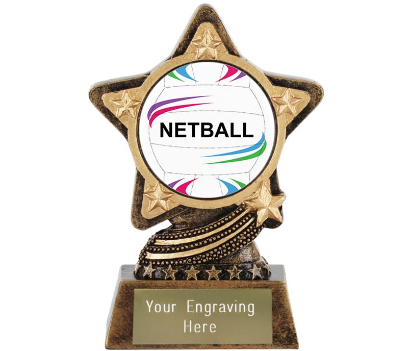 """Centre Netball Trophy by Infinity Stars 10cm (4"""")"""