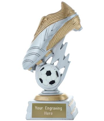 "Football Boot Trophy Silver & Gold 15cm (6"")"