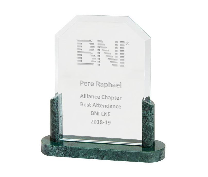 "Honour Crystal & Marble Plaque Award 17.5cm (7"")"
