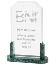 "Honour Crystal & Marble Plaque Award 22.5cm (9"")"