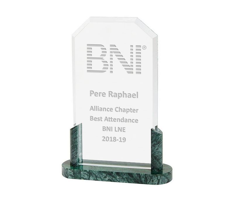 "Honour Crystal & Marble Plaque Award 22.5cm (9"")"