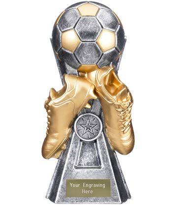 "Gravity Football Trophy Antique Silver 22cm (8.75"")"