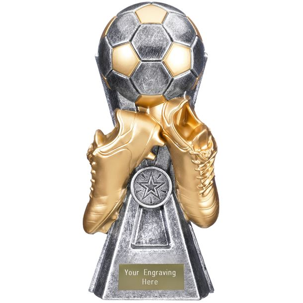 "Gravity Football Trophy Antique Silver 30cm (11.75"")"