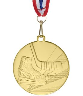 """Ice Hockey Gold Medal with Medal Ribbon 50mm (2"""")"""