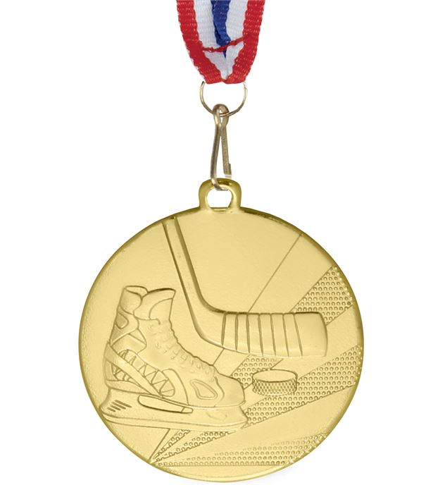 "Ice Hockey Gold Medal with Medal Ribbon 50mm (2"")"
