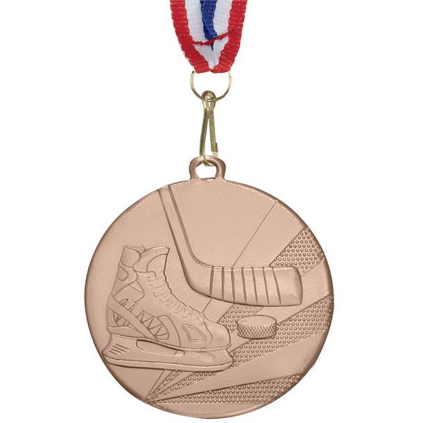 """Ice Hockey Bronze Medal with Medal Ribbon 50mm (2"""")"""