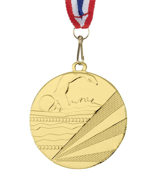 "Swimming Gold Medal with Medal Ribbon 50mm (2"")"