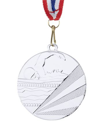 "Swimming Silver Medal with Medal Ribbon 50mm (2"")"