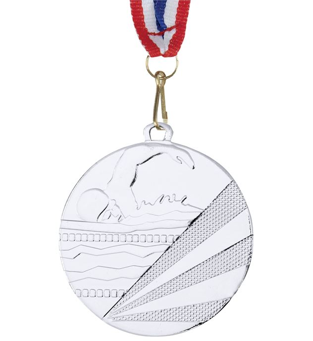 """Swimming Silver Medal with Medal Ribbon 50mm (2"""")"""