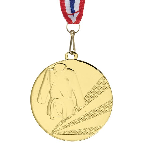 "Martial Arts Gold Medal with Medal Ribbon 50mm (2"")"