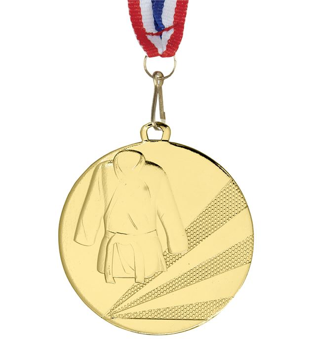 """Martial Arts Gold Medal with Medal Ribbon 50mm (2"""")"""