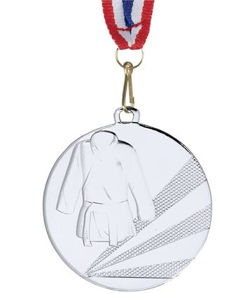 """Martial Arts Silver Medal with Medal Ribbon 50mm (2"""")"""