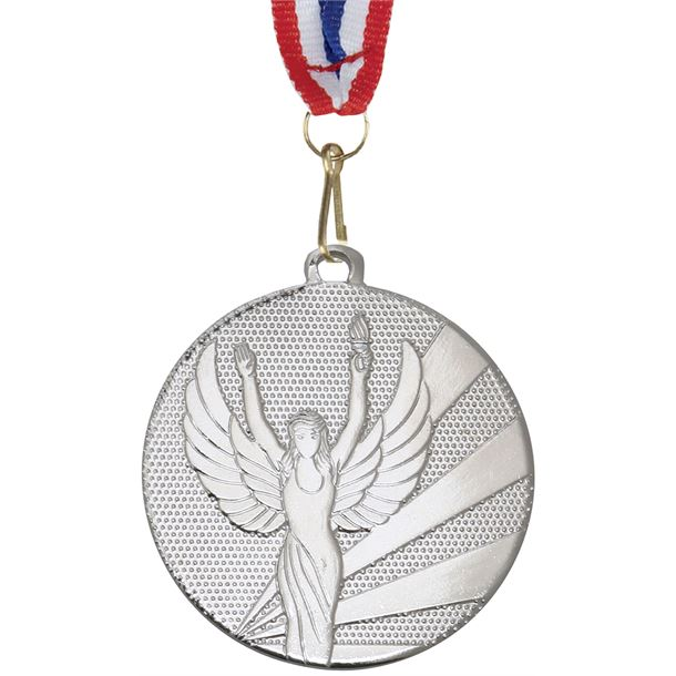 """Victory Silver Medal with Medal Ribbon 50mm (2"""")"""
