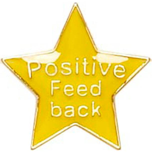 Positive Feedback Lapel Badge Yellow 20mm