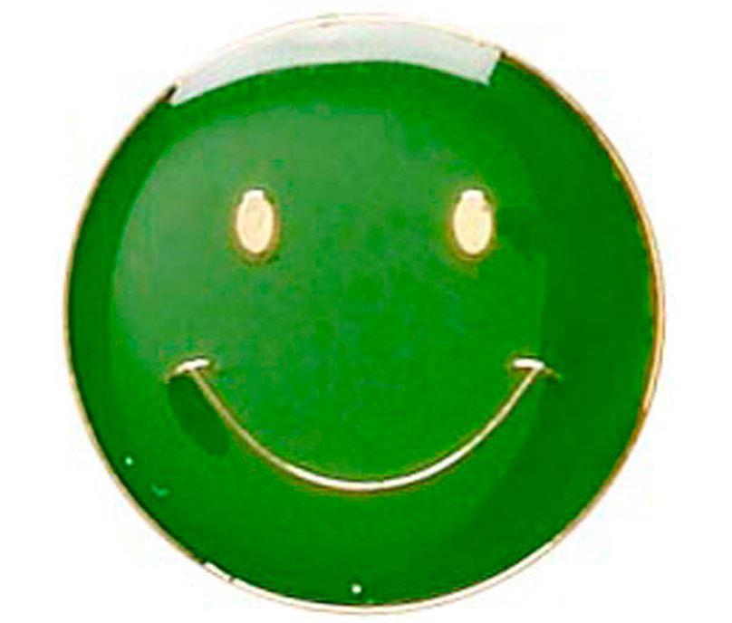 Green Happy Face Lapel Badge 20mm