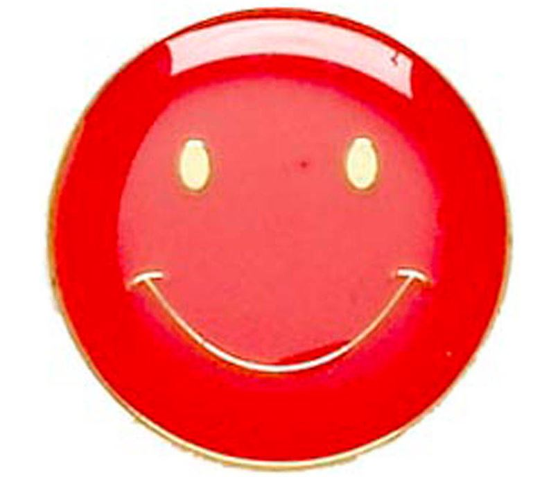 Red Happy Face Lapel Badge 20mm