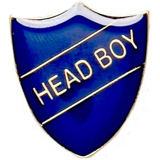 Head Boy Shield Badge Blue 22mm x 25mm