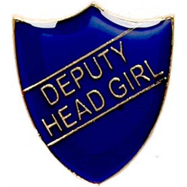 Deputy Head Girl Shield Badge Blue 22mm x 25mm