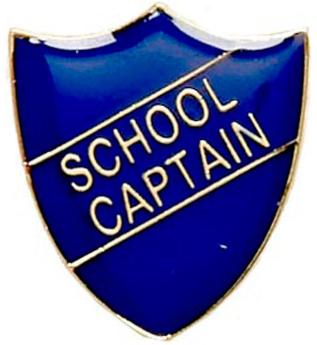 School Captain Shield Badge Blue 22mm x 25mm