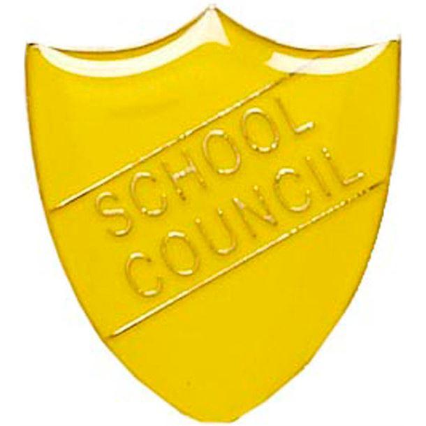 School Council Shield Badge Yellow 22mm x 25mm