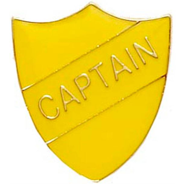 Captain Shield Badge Yellow 22mm x 25mm