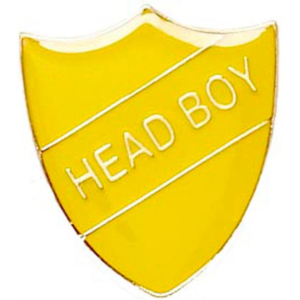Head Boy Shield Badge Yellow 22mm x 25mm
