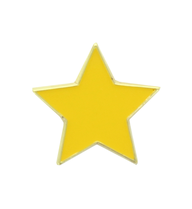 Yellow Star Shaped Lapel Badge 20mm