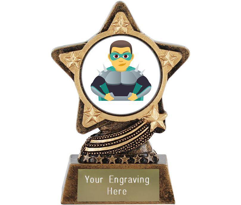 "Man Supervillian Emoji Trophy by Infinity Stars 10cm (4"")"