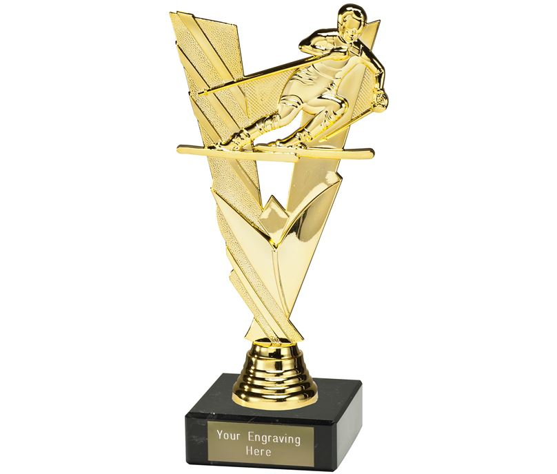 "Valour Skiing Trophy on Marble Base Gold 21cm (8.25"")"