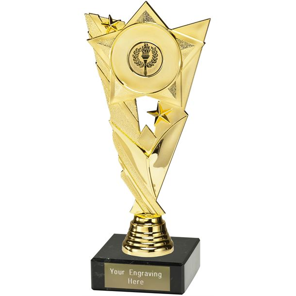 "Valour Star Trophy with 25mm Centre Disc on Marble Base Gold 21cm (8.25"")"