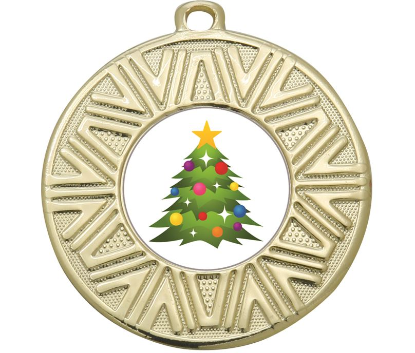 "Christmas Emoji Victory Medal Gold 50mm (2"")"