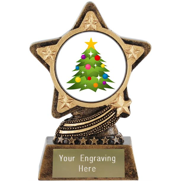 "Christmas Tree Emoji Trophy by Infinity Stars 10cm (4"")"