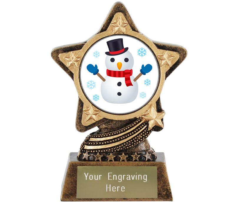 """Snowman Emoji Trophy by Infinity Stars 10cm (4"""")"""