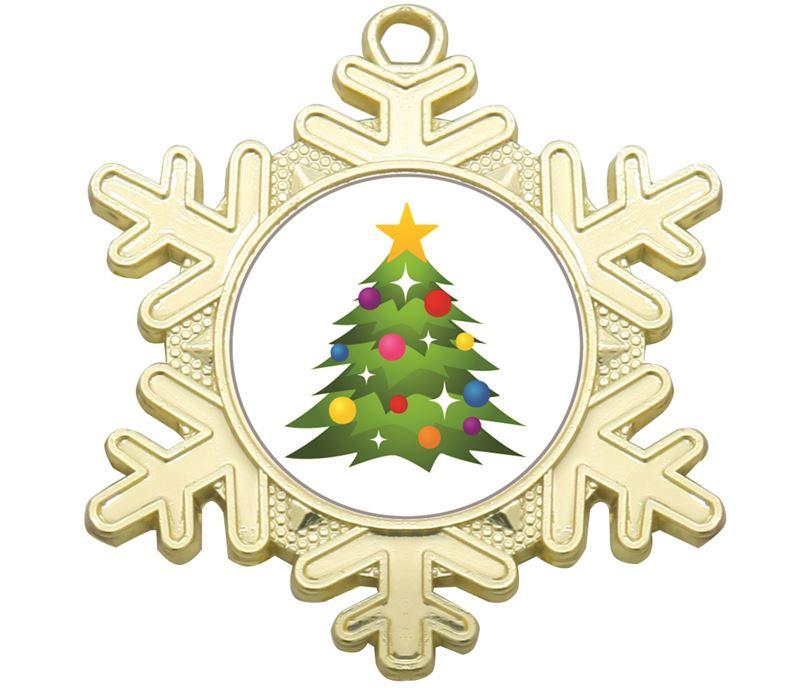 """Christmas Emoji Snowflake Medal Gold 50mm (2"""")"""