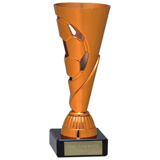 "Bronze Football Patterned Cone Trophy on Marble Base 16cm (6.25"")"