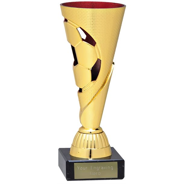 "Gold & Red Football Patterned Cone Trophy on Marble Base 16cm (6.25"")"