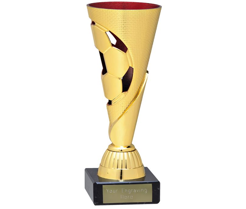 """Gold & Red Football Patterned Cone Trophy on Marble Base 16cm (6.25"""")"""