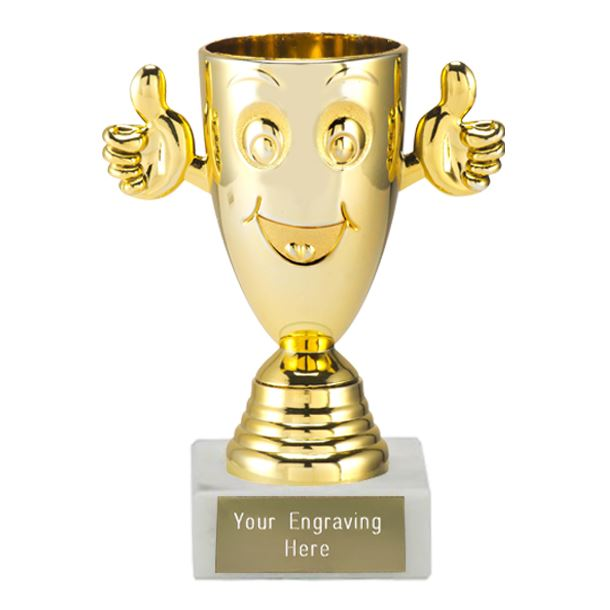 """Gold Happy Face Cup on a White Marble Base 12cm (4.75"""")"""