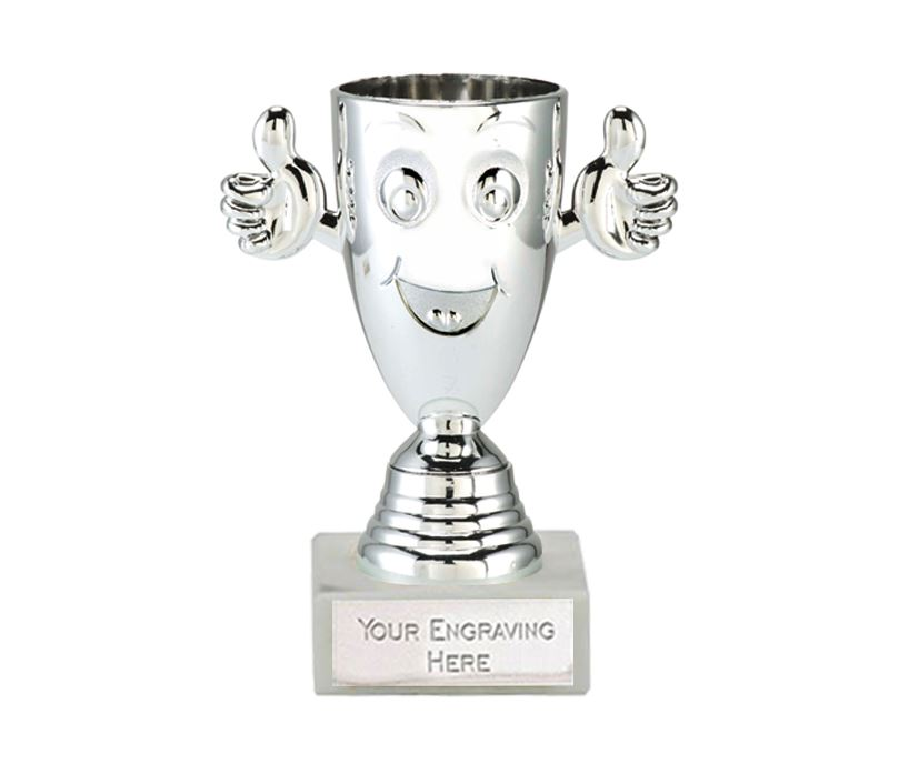 """Silver Happy Face Cup on a White Marble Base 12cm (4.75"""")"""