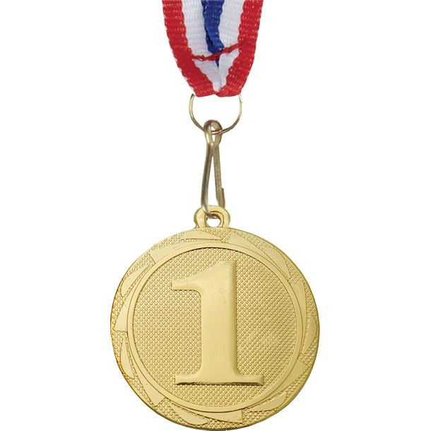 """1st Place Fusion Medal with Medal Ribbon Gold 45mm (1.75"""")"""