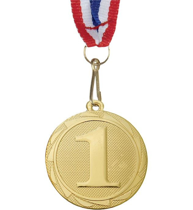 "1st Place Fusion Medal with Medal Ribbon Gold 45mm (1.75"")"