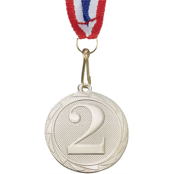"""2nd Place Fusion Medal Silver with Medal Ribbon 45mm (1.75"""")"""