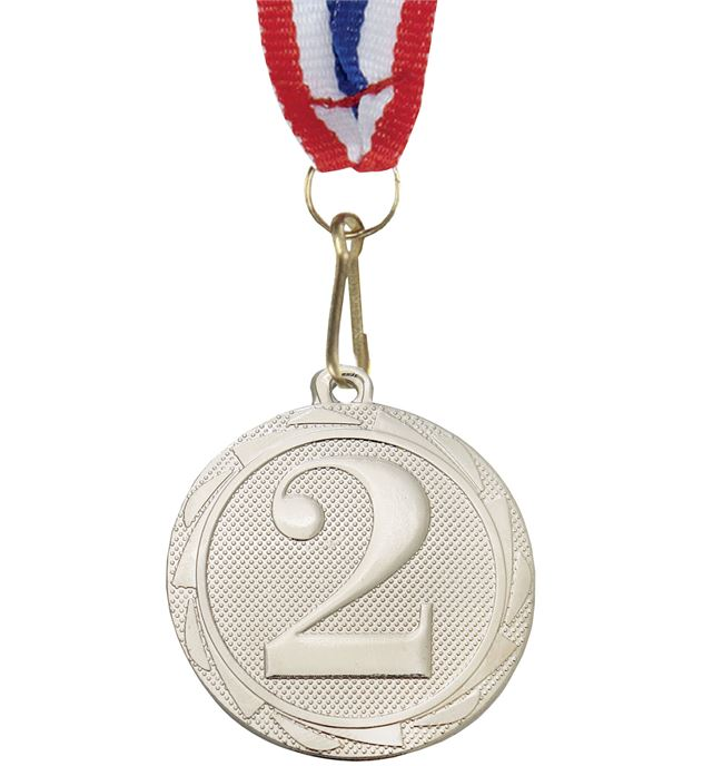"2nd Place Fusion Medal Silver with Medal Ribbon 45mm (1.75"")"