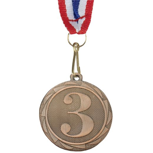 """3rd Place Fusion Medal Bronze with Medal Ribbon 45mm (1.75"""")"""
